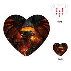 Dragon Legend Art Fire Digital Fantasy Playing Cards (heart)  by Celenk