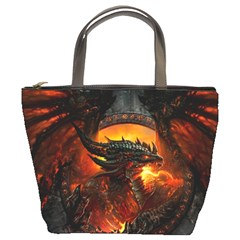 Dragon Legend Art Fire Digital Fantasy Bucket Bags by Celenk