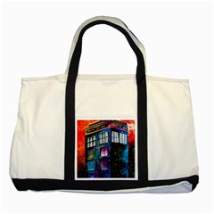 Dr Who Tardis Painting Two Tone Tote Bag by Celenk