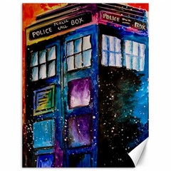 Dr Who Tardis Painting Canvas 12  X 16   by Celenk