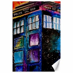 Dr Who Tardis Painting Canvas 12  X 18   by Celenk