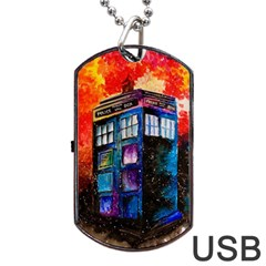 Dr Who Tardis Painting Dog Tag Usb Flash (one Side) by Celenk