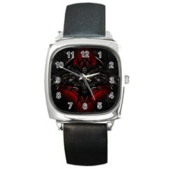 Black Dragon Grunge Square Metal Watch by Celenk