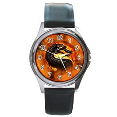 Dragon And Fire Round Metal Watch by Celenk
