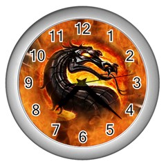 Dragon And Fire Wall Clocks (silver)