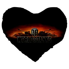 World Of Tanks Large 19  Premium Flano Heart Shape Cushions by Celenk