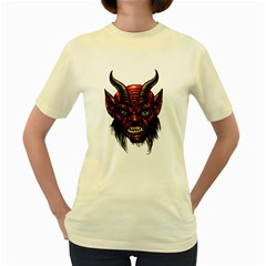 Krampus Devil Face Women s Yellow T Shirt