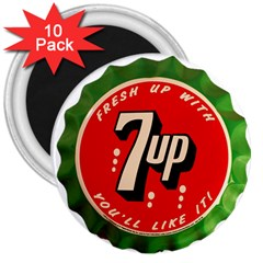 Fresh Up With  7 Up Bottle Cap Tin Metal 3  Magnets (10 Pack)  by Celenk