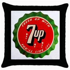 Fresh Up With  7 Up Bottle Cap Tin Metal Throw Pillow Case (black) by Celenk
