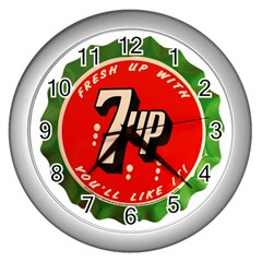 Fresh Up With  7 Up Bottle Cap Tin Metal Wall Clocks (silver)  by Celenk
