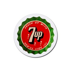Fresh Up With  7 Up Bottle Cap Tin Metal Rubber Coaster (round)  by Celenk