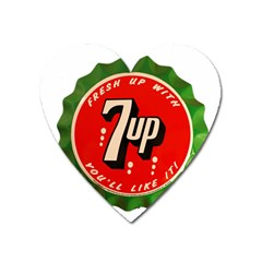 Fresh Up With  7 Up Bottle Cap Tin Metal Heart Magnet by Celenk