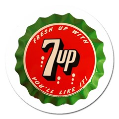 Fresh Up With  7 Up Bottle Cap Tin Metal Magnet 5  (round) by Celenk