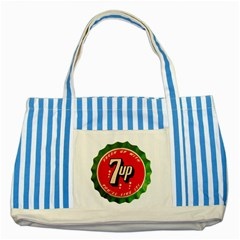 Fresh Up With  7 Up Bottle Cap Tin Metal Striped Blue Tote Bag by Celenk