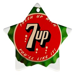 Fresh Up With  7 Up Bottle Cap Tin Metal Star Ornament (two Sides) by Celenk