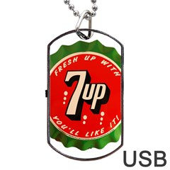 Fresh Up With  7 Up Bottle Cap Tin Metal Dog Tag Usb Flash (two Sides) by Celenk