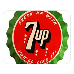 Fresh Up With  7 Up Bottle Cap Tin Metal Double Sided Flano Blanket (large)  by Celenk