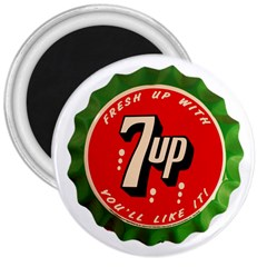 Fresh Up With  7 Up Bottle Cap Tin Metal 3  Magnets by Celenk