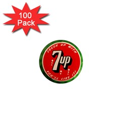 Fresh Up With  7 Up Bottle Cap Tin Metal 1  Mini Magnets (100 Pack)  by Celenk