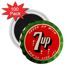 Fresh Up With  7 Up Bottle Cap Tin Metal 2 25  Magnets (100 Pack)  by Celenk