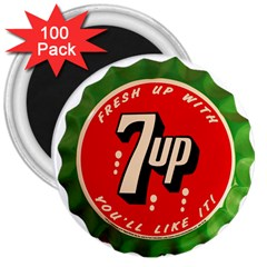 Fresh Up With  7 Up Bottle Cap Tin Metal 3  Magnets (100 Pack) by Celenk