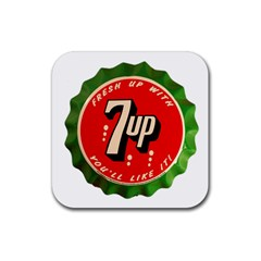 Fresh Up With  7 Up Bottle Cap Tin Metal Rubber Square Coaster (4 Pack)  by Celenk