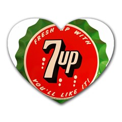 Fresh Up With  7 Up Bottle Cap Tin Metal Heart Mousepads by Celenk