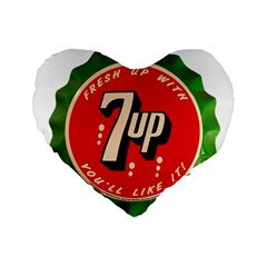 Fresh Up With  7 Up Bottle Cap Tin Metal Standard 16  Premium Flano Heart Shape Cushions by Celenk
