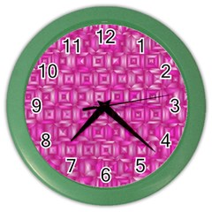 Classic Blocks,pink Color Wall Clocks by MoreColorsinLife