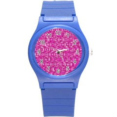 Classic Blocks,pink Round Plastic Sport Watch (s) by MoreColorsinLife