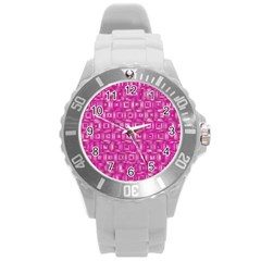 Classic Blocks,pink Round Plastic Sport Watch (l) by MoreColorsinLife