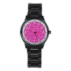 Classic Blocks,pink Stainless Steel Round Watch by MoreColorsinLife