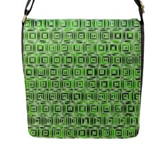 Classic Blocks,green Flap Messenger Bag (l)  by MoreColorsinLife