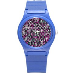 Classic Blocks,pink Combo Round Plastic Sport Watch (s) by MoreColorsinLife