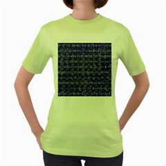 Classic Blocks,blue Women s Green T Shirt by MoreColorsinLife