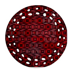 Classic Blocks,red Ornament (round Filigree) by MoreColorsinLife