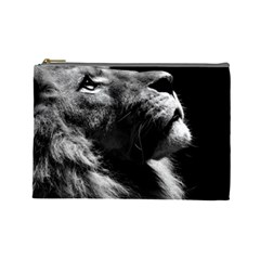Male Lion Face Cosmetic Bag (large)  by Celenk