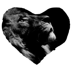 Male Lion Face Large 19  Premium Flano Heart Shape Cushions by Celenk