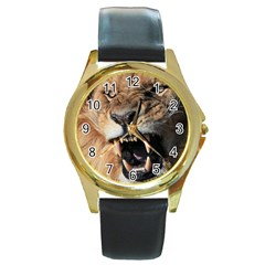 Male Lion Angry Round Gold Metal Watch by Celenk
