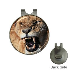 Male Lion Angry Hat Clips With Golf Markers by Celenk