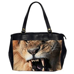 Male Lion Angry Office Handbags (2 Sides)  by Celenk