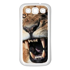 Male Lion Angry Samsung Galaxy S3 Back Case (white) by Celenk