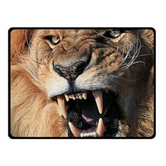 Male Lion Angry Double Sided Fleece Blanket (small)  by Celenk