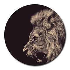 Angry Male Lion Round Mousepads by Celenk