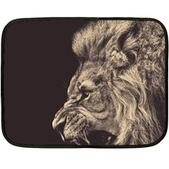 Angry Male Lion Double Sided Fleece Blanket (mini)  by Celenk