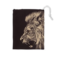 Angry Male Lion Drawstring Pouches (large)  by Celenk