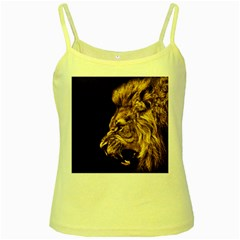 Angry Male Lion Gold Yellow Spaghetti Tank by Celenk