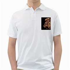 Angry Male Lion Gold Golf Shirts by Celenk