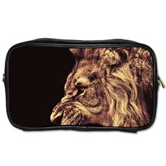 Angry Male Lion Gold Toiletries Bags 2 Side by Celenk