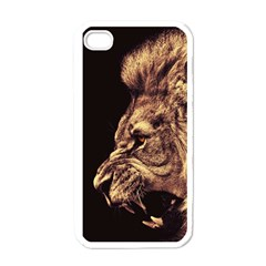 Angry Male Lion Gold Apple Iphone 4 Case (white) by Celenk